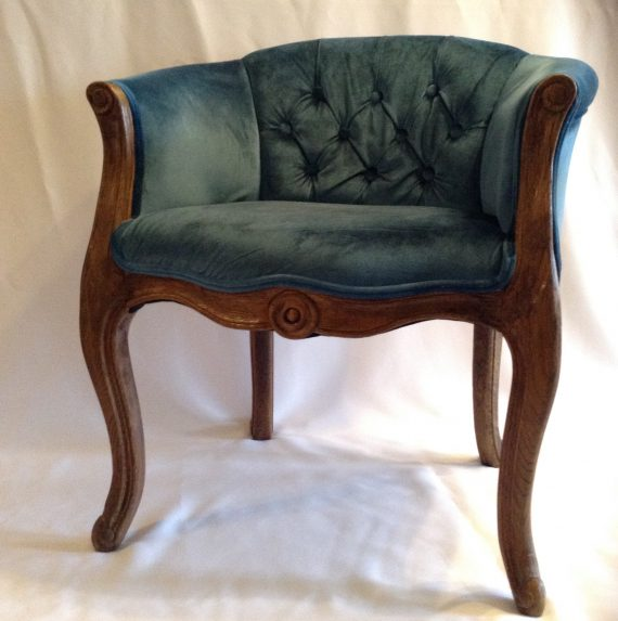 beatrice-style-bedroom-chair-blue-tufted-velour-french-curved-oak-pickup-only