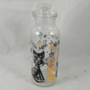 beautiful-8-tall-apothecary-jar-1950s-modern-stopper-black-gold-cat-floral