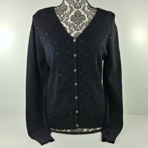 belldini-black-button-up-sweater-long-sleeve-womens-size-m-rhinestones-bling