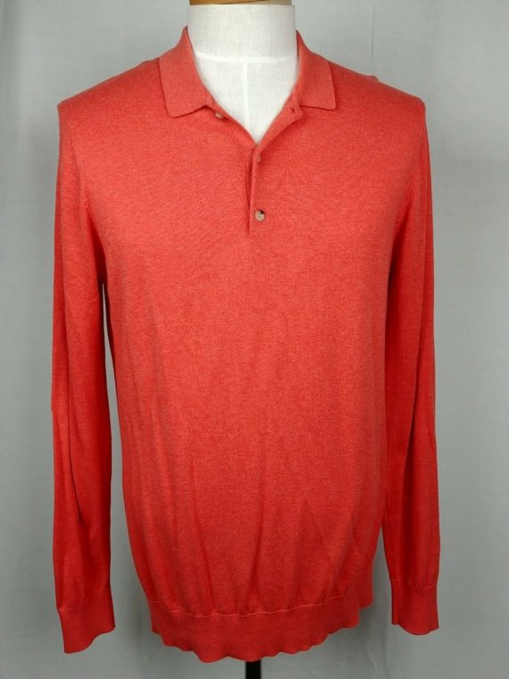 ben-sherman-casual-mens-long-sleeve-polo-shirt-orange-size-large