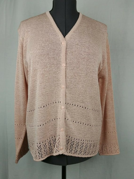 bice-by-sag-harbor-beige-cardigan-sweater-long-sleeve-button-up-womens-size-l