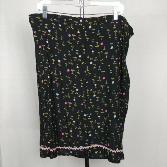 black-floral-handmade-skirt-pink-blue-flowers-womens-size-16