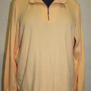blair-solid-yellow-sweater-long-sleeve-partial-zip-womens-size-l-cotton-blend