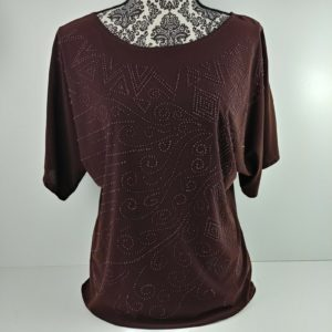 bleeker-mcdougal-short-sleeve-top-brown-seed-beads-size-womens-s