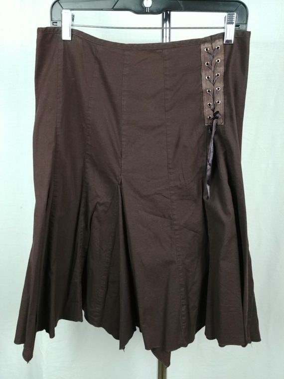 brown-pleated-flare-lace-up-skirt-womens-size-8