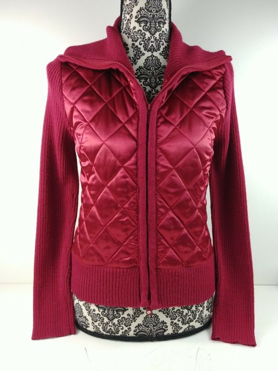 caslon-womens-red-long-sleeve-sweater-cable-knit-quilted-front-zip-up