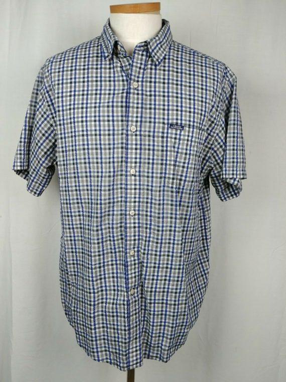 chaps-ralph-lauren-blue-plaid-button-up-short-sleeve-shirt-mens-size-xl