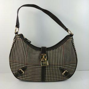chaps-womens-purse-handbag-brown-geometric-pattern-buckles-decorative-lock