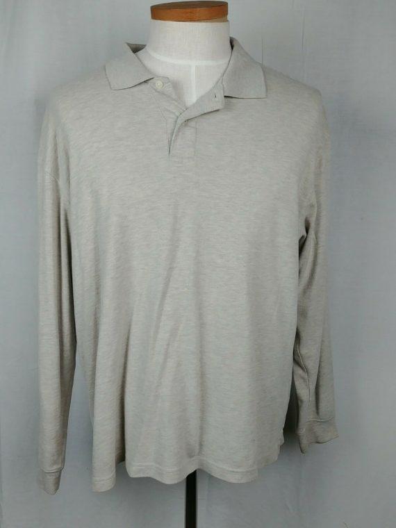 chereskin-beige-long-sleeve-polo-henley-shirt-cotton-blend-mens-size-l