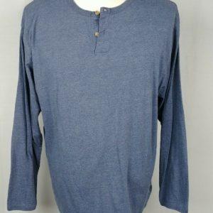 cherokee-blue-long-sleeve-henley-partial-button-shirt-mens-size-l-42-44