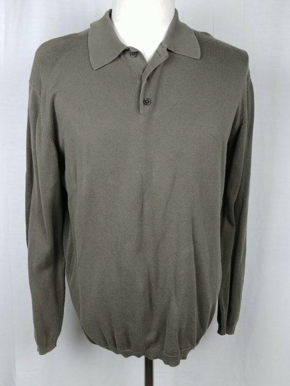 cherokee-long-sleeve-knit-polo-100-cotton-shirt-mens-size-l