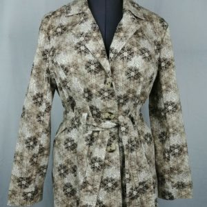 christopher-banks-floral-trench-coat-button-up-belted-blouse-womens-size-l
