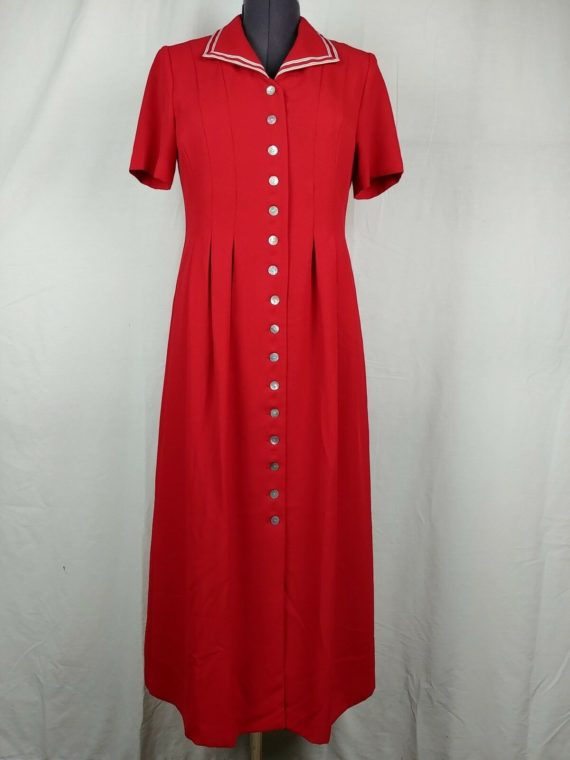 coldwater-creek-red-full-length-button-down-vintage-dress-womens-size-8