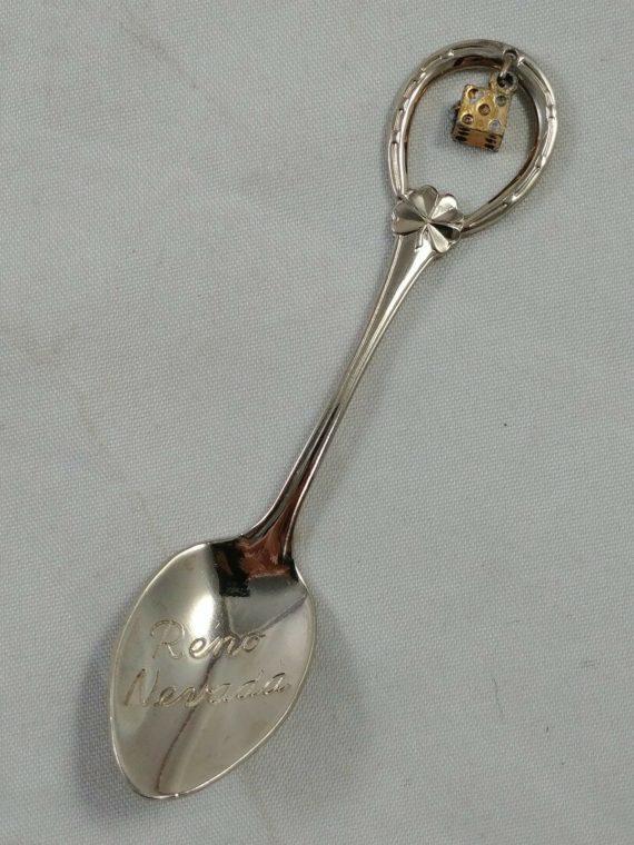 collector-souvenir-spoon-reno-nevada-4-leaf-clover-lucky-horse-shoe-dice-luck