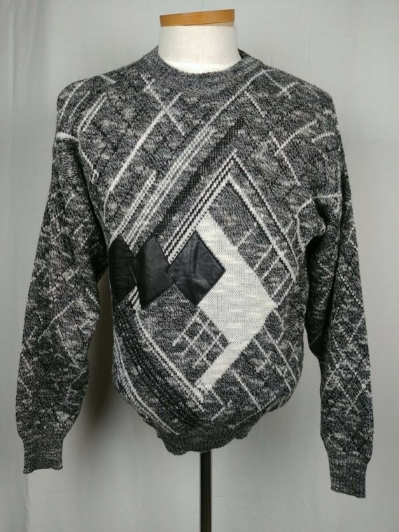 colore-italia-mens-sweater-black-white-gray-vintage-chick-magnet-size-large