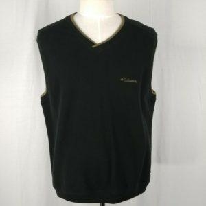 columbia-sportswear-black-v-neck-sweater-vest-beige-trim-100-cotton-mens-size-l