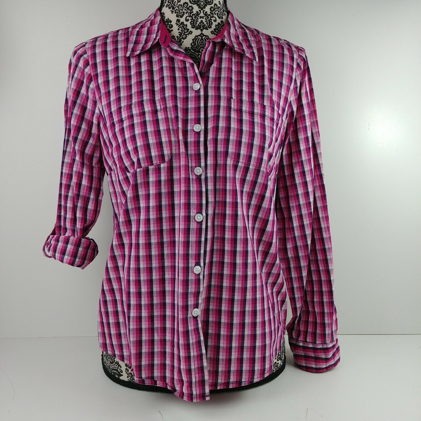 4d9b27abb4d75f Croft & Barrow Womens Pink Plaid Button Down Long Sleeve Blouse ...