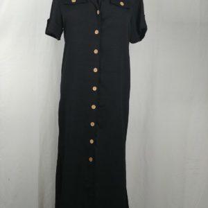 dana-kay-black-vintage-button-down-short-sleeve-dress-womens-size-8