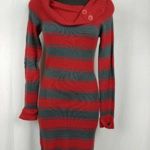 derek-heart-orange-gray-striped-sweater-dress-cowl-neck-womens-juniors-size-m