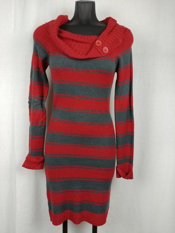 derek-heart-orange-gray-striped-sweater-dress-cowl-neck-womens-juniors-size-m
