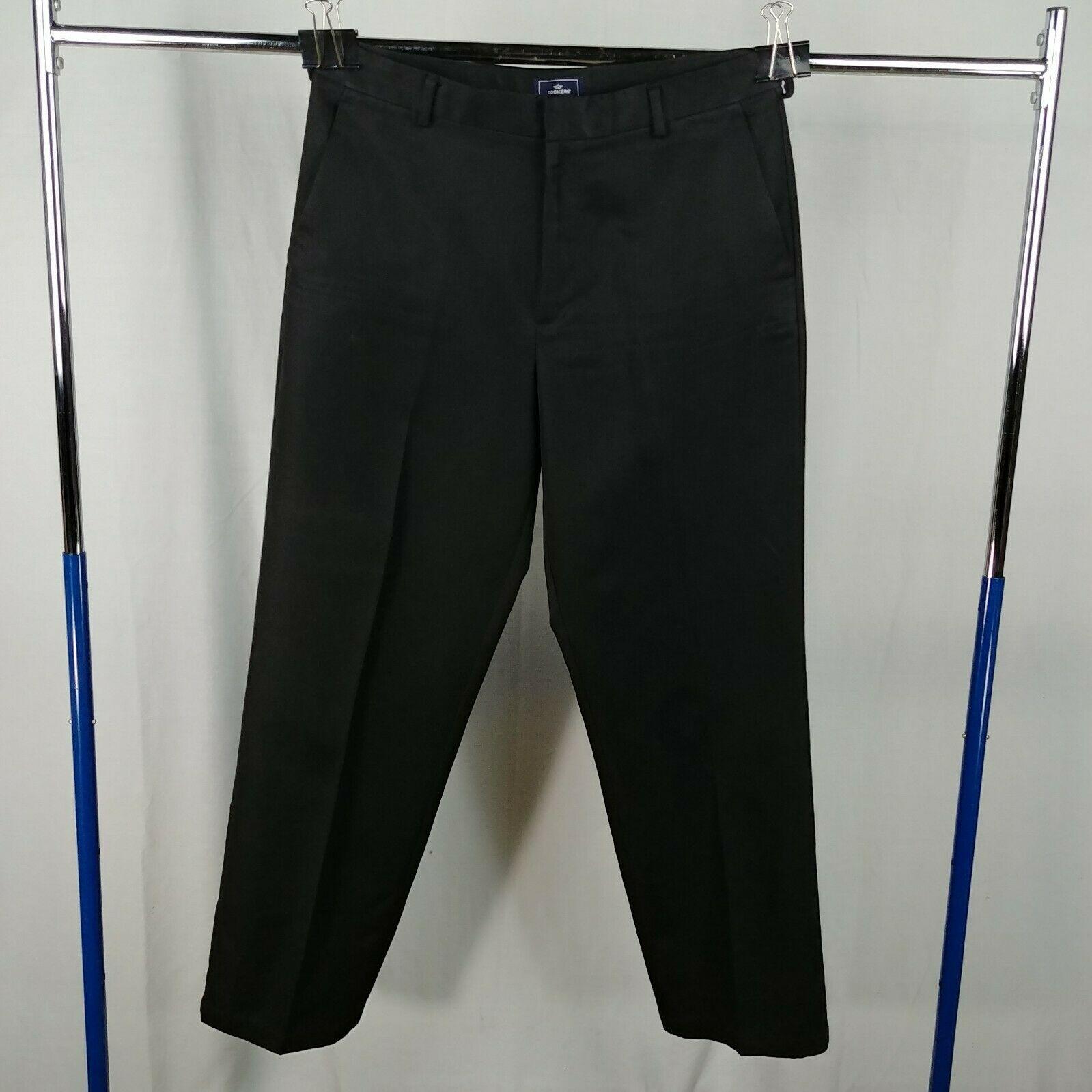 a8cc8259 Dockers Black Flat Front Casual Pants Mens Size 33 x 32 Straight Leg