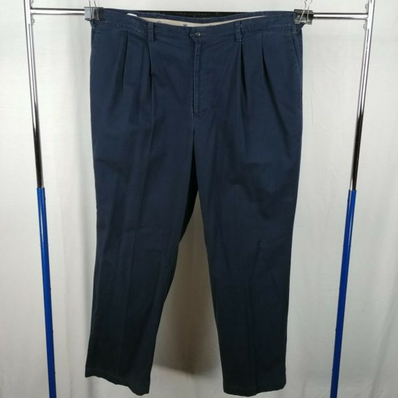 dockers-navy-blue-pleated-front-casual-pants-mens-size-46-x-32-100-cotton