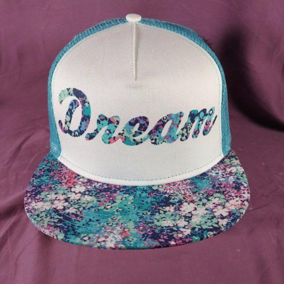 dream-blue-white-floral-snapback-hat-baseball-cap-claires-sz-m-l
