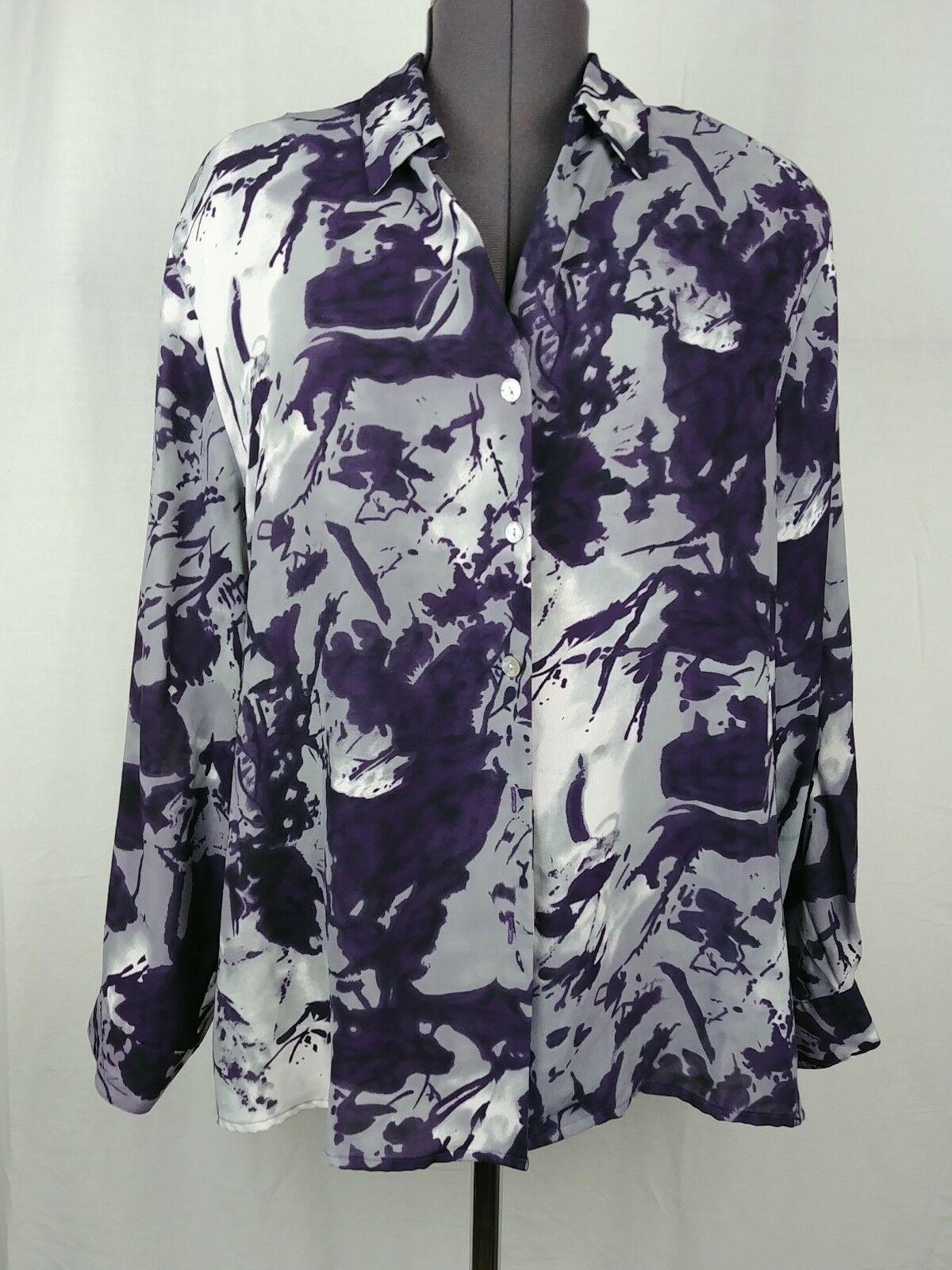 Dress Barn Womens Black & Gray Long Sleeve Blouse Womens Plus Size 2X