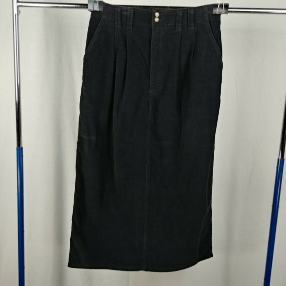 eddie-bauer-black-corduroy-long-skirt-womens-size-16-100-cotton