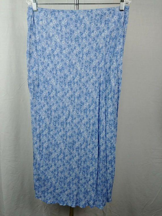 eddie-bauer-blue-floral-100-rayon-long-skirt-womens-size-18