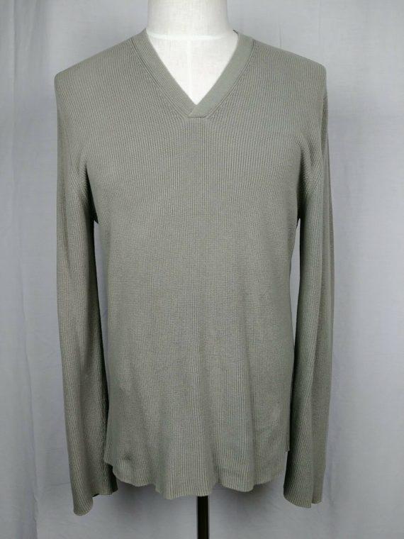 express-v-neck-beige-long-sleeve-knit-pullover-sweater-mens-size-large