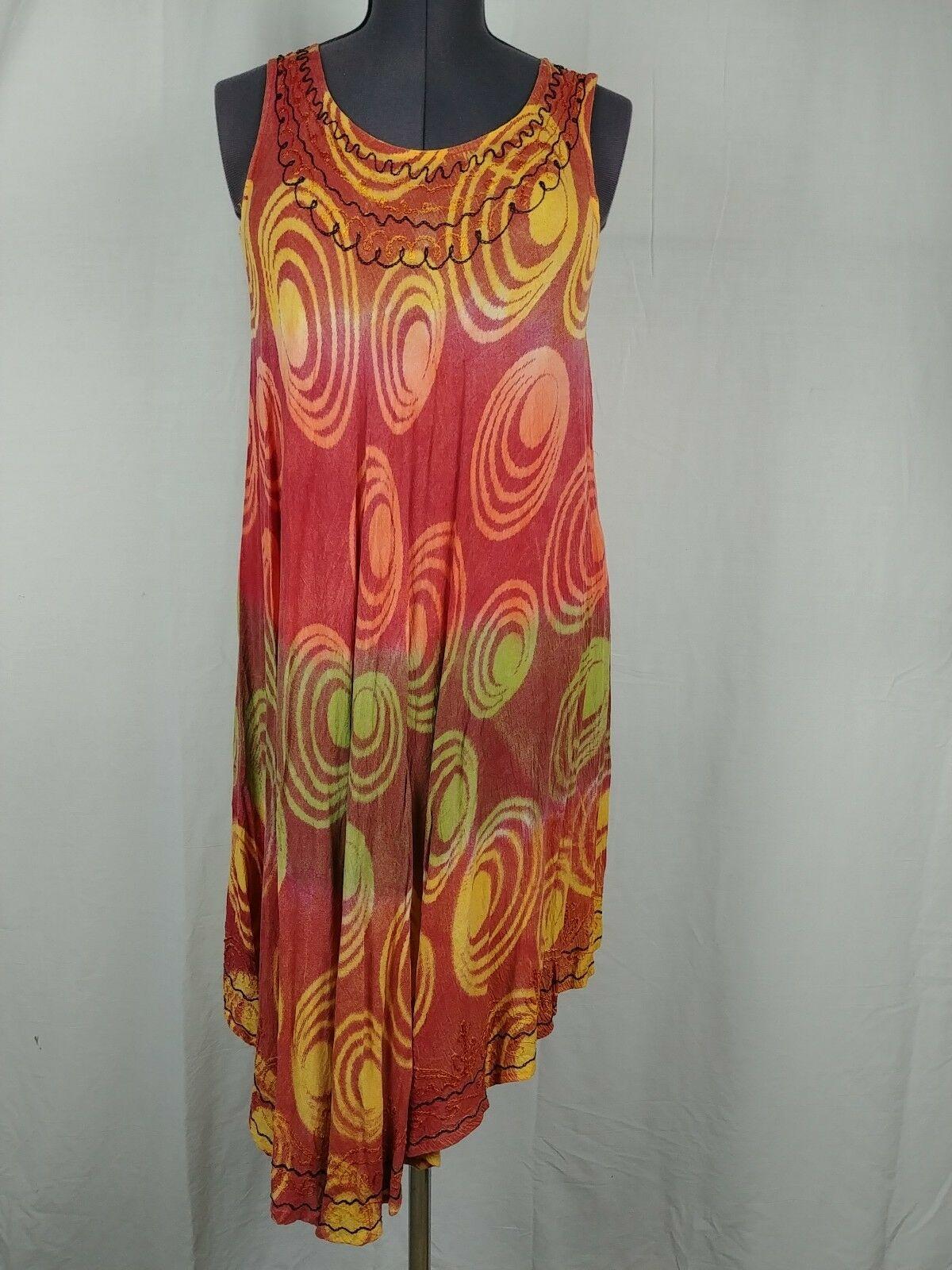 Fashion Force Tie Die Orange Hippie Circle Stitching Dress Women Plus Size