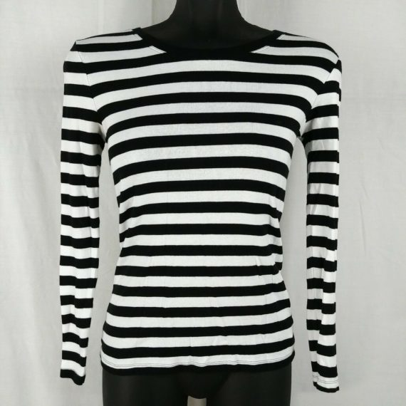 gap-womens-black-white-striped-long-sleeve-blouse-juniors-size-small