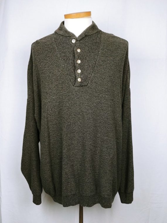 great-northwest-mens-sweater-green-pullover-partial-button-size-xxl