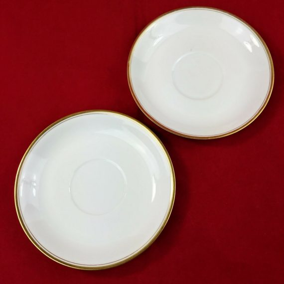 heinrich-hco-selb-bavaria-germany-white-gold-band-set-of-2-saucers-lot-10