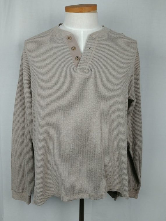 high-sierra-beige-pullover-sweater-partial-button-long-sleeve-mens-size-l