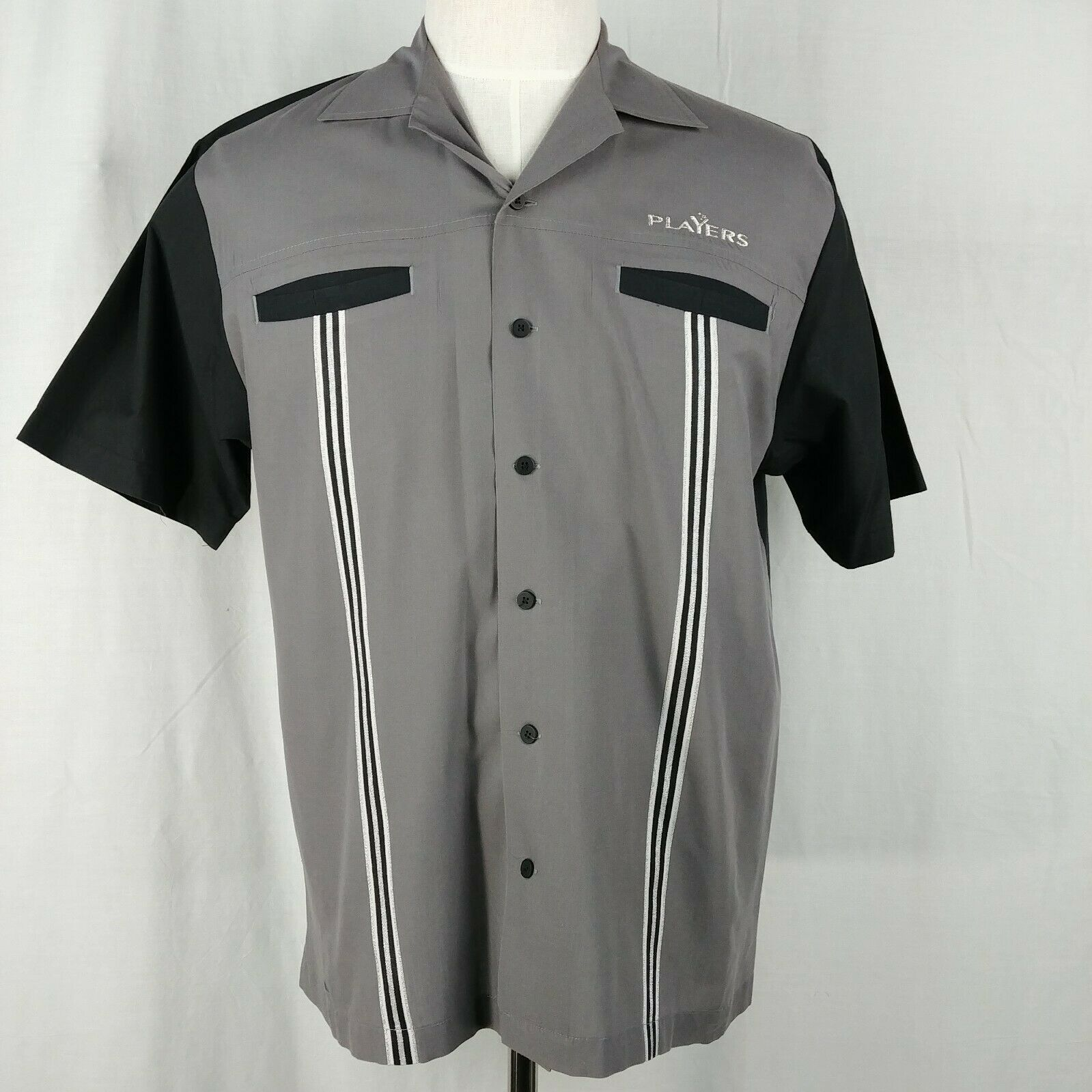 8b4ccc1af ... Shirt M Short Sleeve. 🔍. hilton-corporate-casuals-mens-black-gray- striped-bowling-