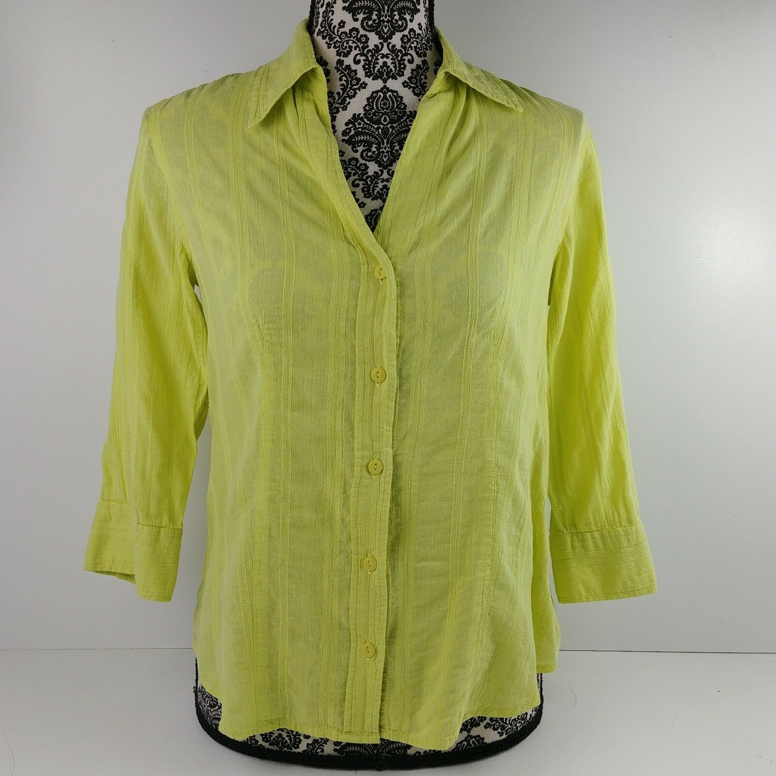 4680a601605076 i.e. Relaxed Womens Lime Green Button Down Blouse 3/4 Sleeve ...