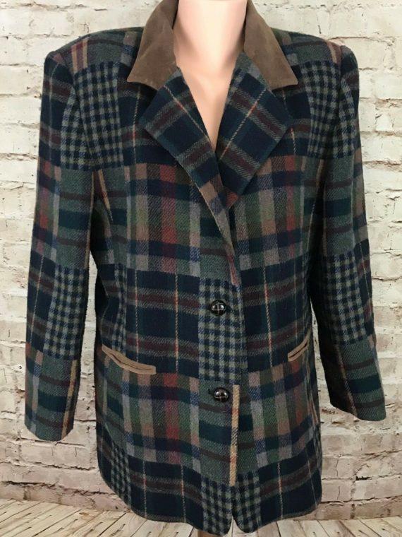 jl-colebrook-womens-plaid-coat-blazer-wool-blend-suede-collar-sz-m