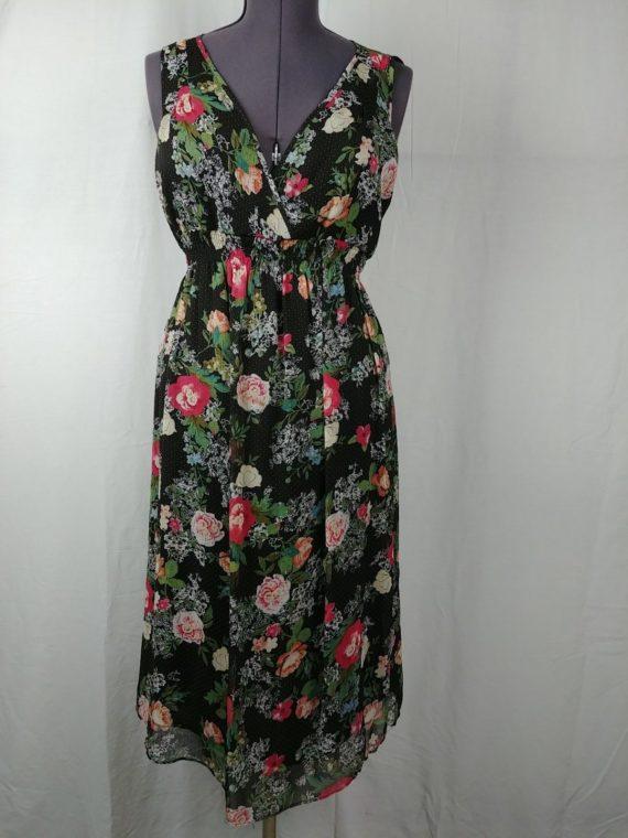 john-paul-richard-v-neck-sleeveless-pink-black-floral-dress-womens-sz-l
