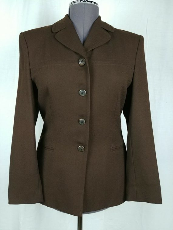jones-new-york-brown-long-sleeve-button-up-blazer-suit-coat-womens-size-8