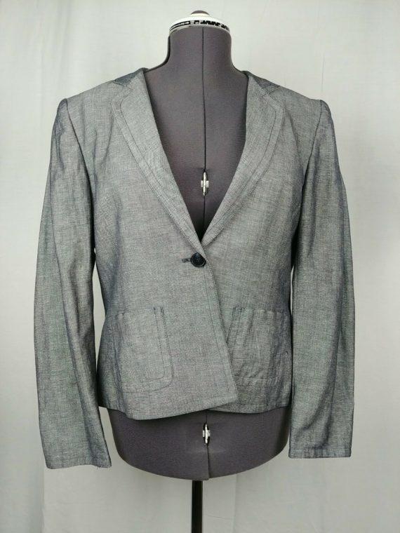 jones-new-york-collection-gray-long-sleeve-blazer-coat-career-womens-size-14