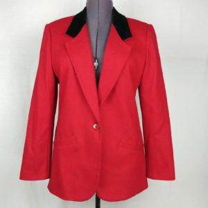 koret-red-black-blazer-jacket-size-m-one-button-career-formal-suit-coat