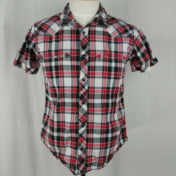 lee-storm-rider-red-black-plaid-button-up-short-sleeve-shirt-mens-size-l