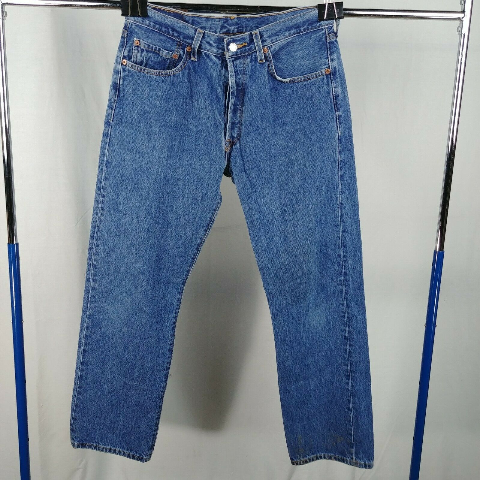 f6ae30eb52d4fe ... 30 100% Cotton Straight Leg. 🔍. levi-501-button-fly-blue-jeans-mens- size-