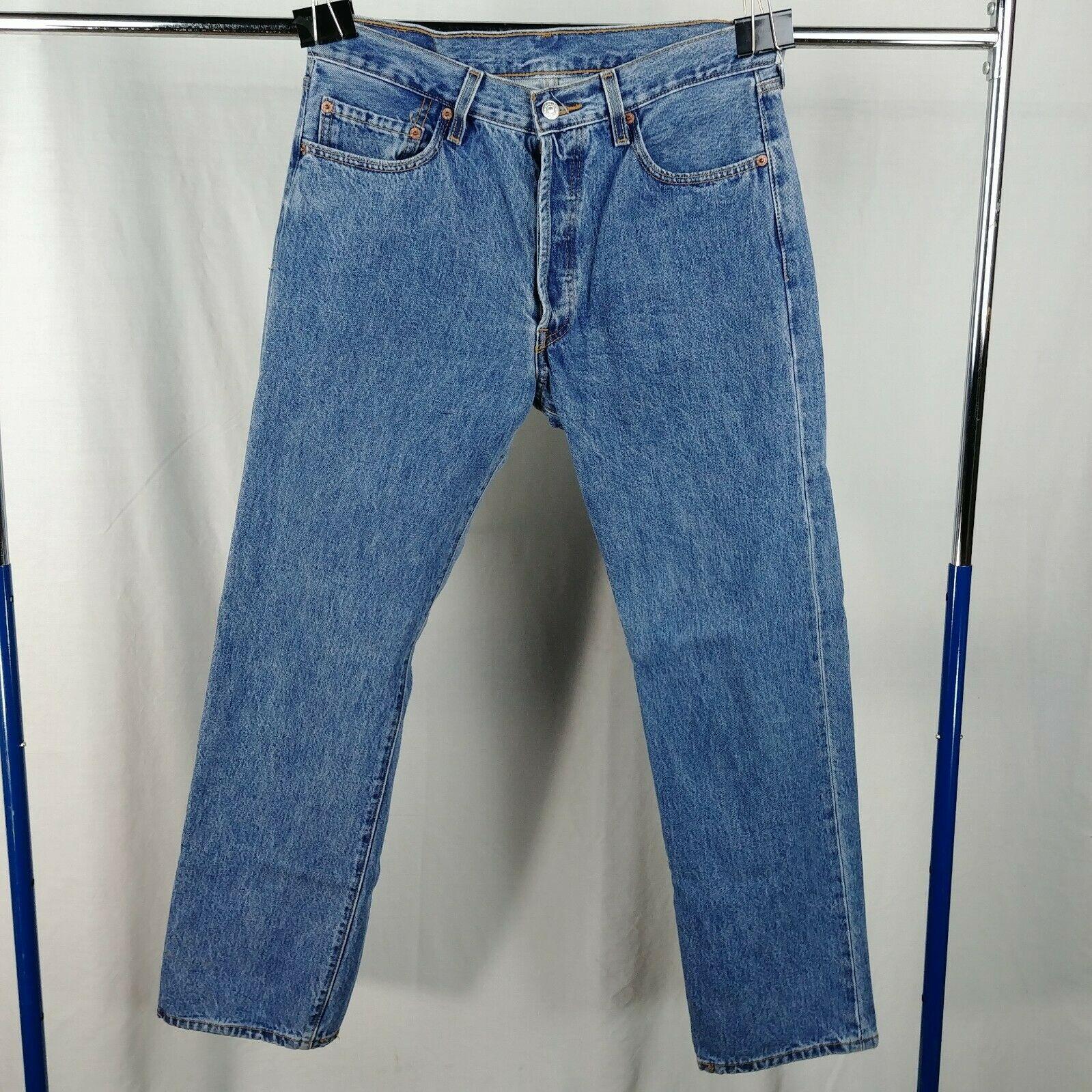 de8d7778 Levi 501 Button Fly Blue Jeans Mens Size 34 x 31 100% Cotton ...