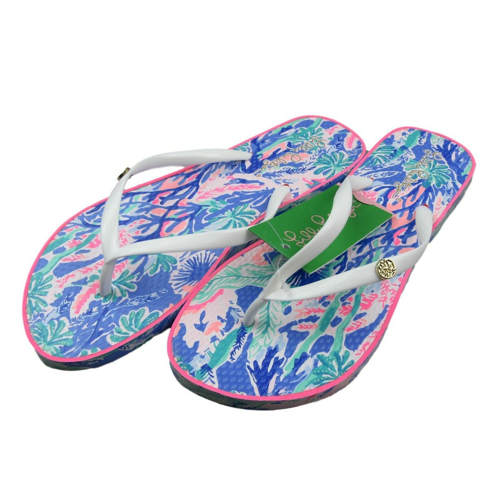 72ae60889b30 Lilly Pulitzer Pool Flip Flops Multi Color Jet Stream Size 7 8 ...