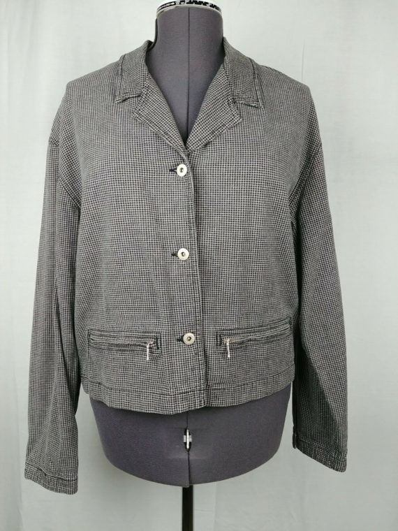 lizwear-black-white-long-sleeve-100-cotton-button-up-coat-jacket-womens-l