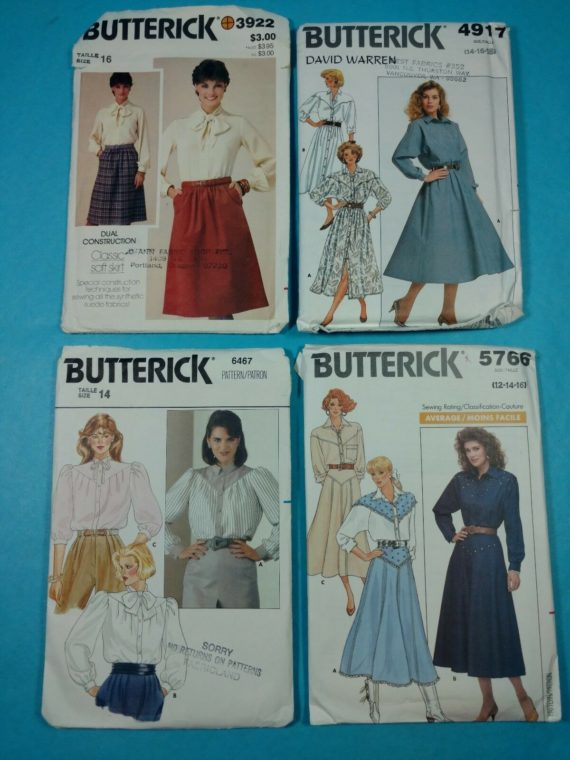 lot-100-group-of-4-vintage-sewing-patterns-butterick-womens-blouse-dress