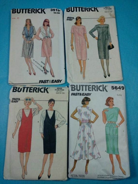 lot-101-group-of-4-vintage-sewing-patterns-butterick-womens-dress-outfit-sz-16